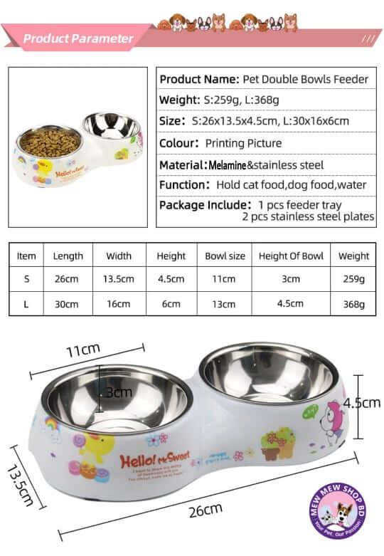 anti ceramic printing pet double bowl